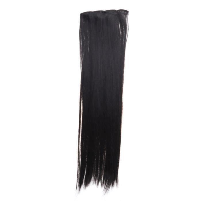 8pcs 60cm Clip dans les extensions de cheveux raides perruque de fibre de cheveux haute température (noir)@ht