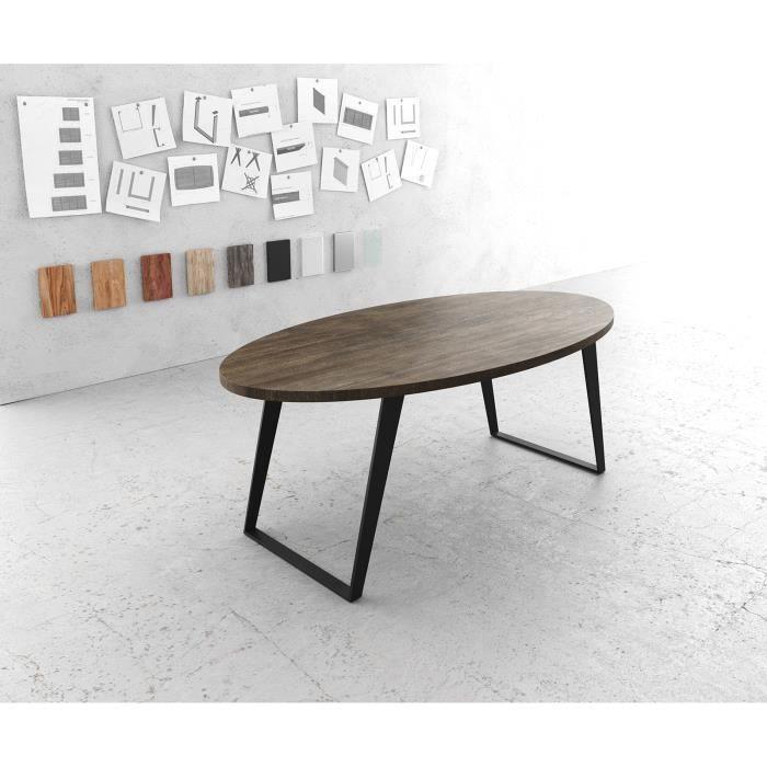 Table-de-salle-à-manger Edge ovale mangue marron 200x100cm métal noir incliné