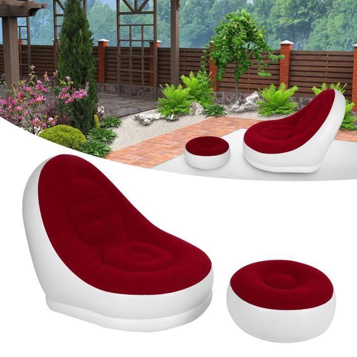 Chaise gonflable de ménage avec canapé chaise longue pliable pompe à air pour salon (rouge 116x98x83cm)