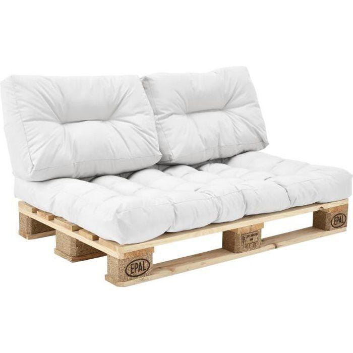 1x Coussin de dossier pour canapé d'euro palette blanc Coussin de palettes In-Outdoor rembourrage meuble