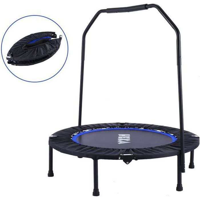Trampolines de Fitness Pliable Ø 40 Pouces, Trampoline d'exercice Exterieur/Interieur pour Adulte et Enfant, Maximale 150kg, Bleu