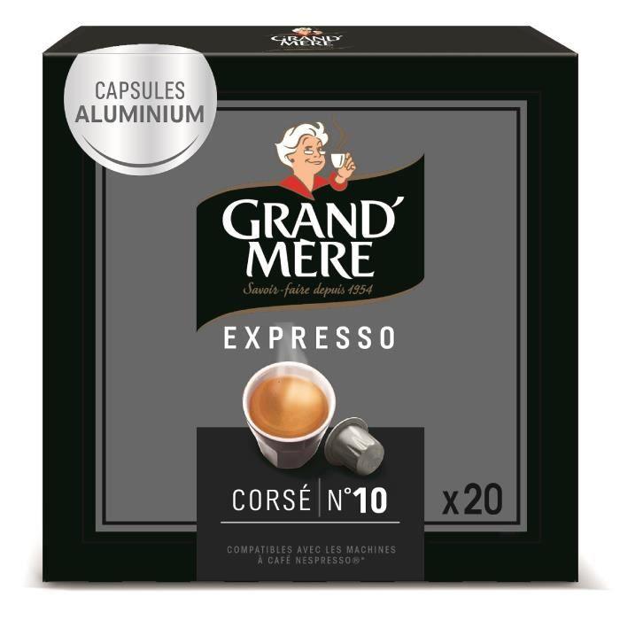 Grand Mère Café Capsules Expresso Corsé x20, en aluminium compatibles avec le système Nespresso -104g