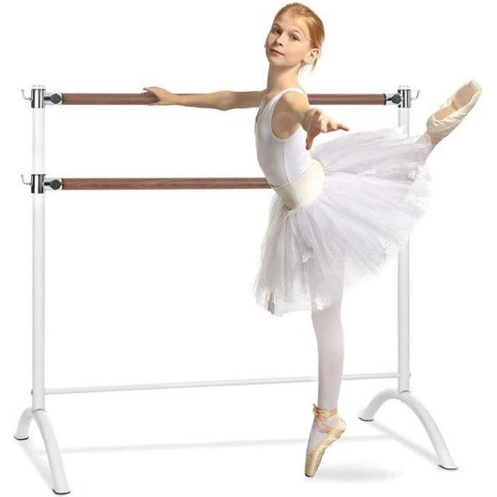Klarfit Barre Anna Double barre de danse classique réglable en hauteur - 110 x 113cm - Ø 2x 38mm - Montage facile - Acier blanc