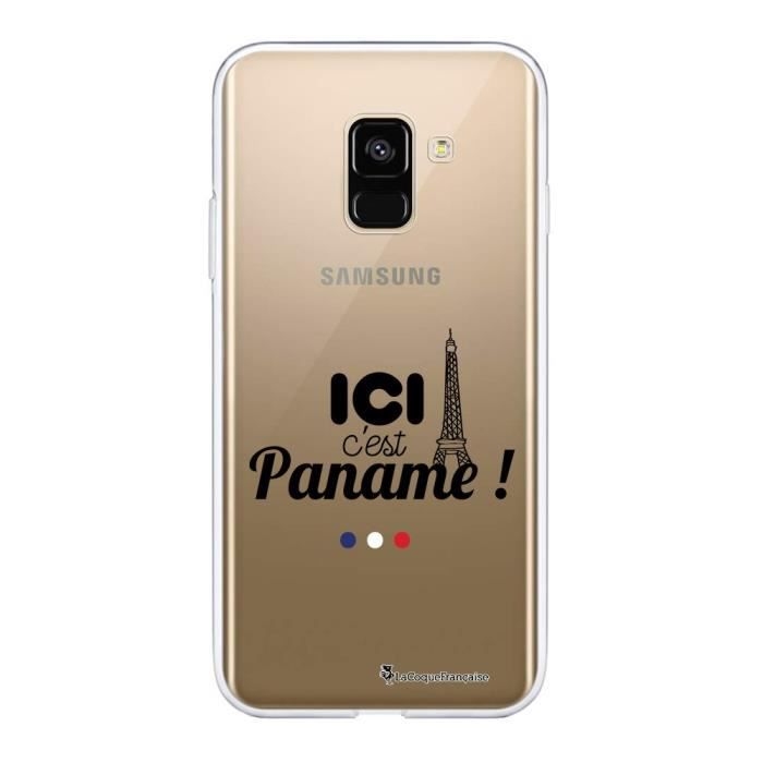 Coque Samsung Galaxy A8 2018 360 intégrale Ici c'est Paname Ecriture Tendance Design La Coque Francaise
