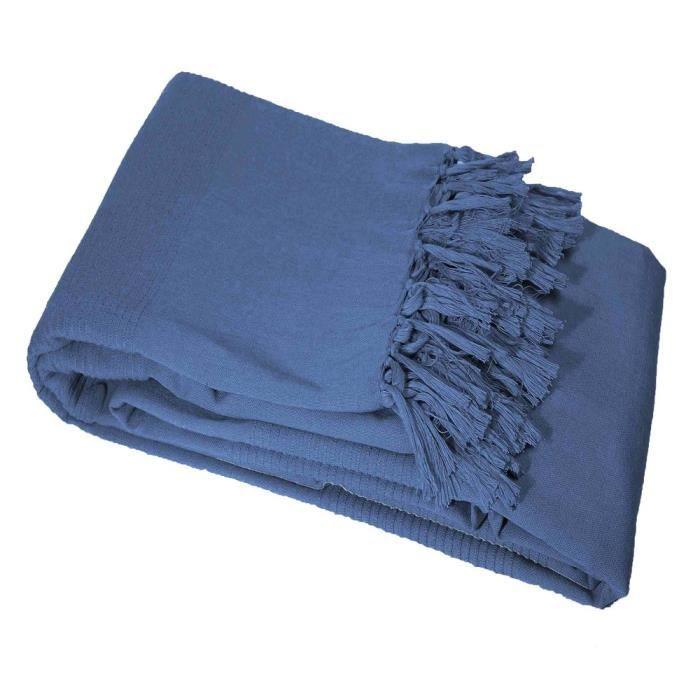 CDaffaires Jete de canape a franges 180 x 220 cm coton tisse lana Indigo