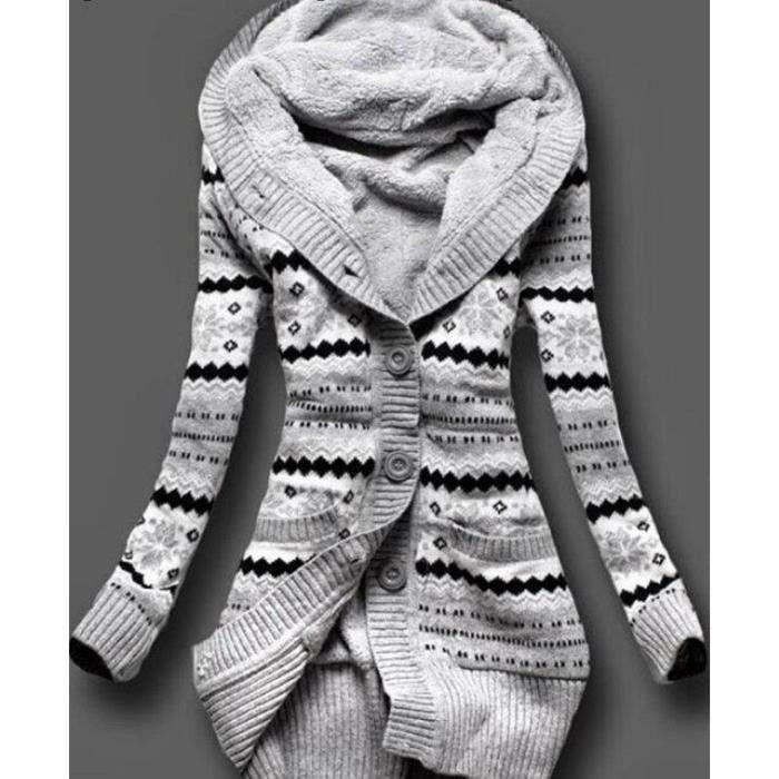 Hiver Femmes Géométrie Imprimé Cardigan À Tricot Pull Velours À Capuchon Moyen Long Outwear Occasionnel Épaissir Cardigan Chaud