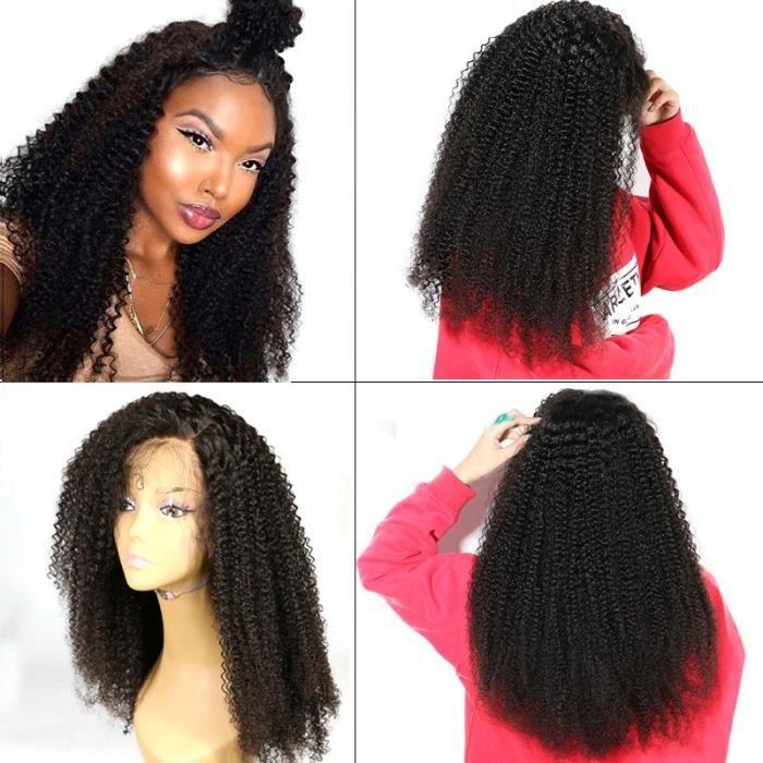 Perruque lace front kinky curly bouclé crépus cheveux humains Bresiliennes