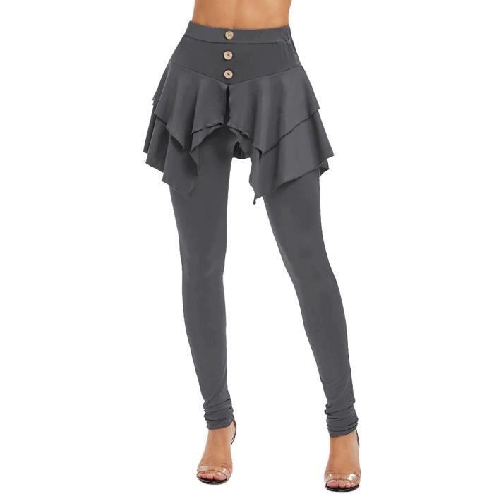 dPois Jupe Legging Taille Haute Femme Sport Pantalon Yoga Amincissant Jupe Élastique Mince Collant de Danse Entraînement S-XXXL