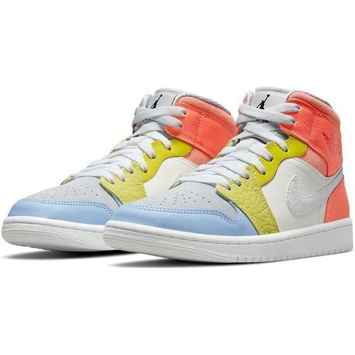Airs Jordans 1 Mid -To My First Coach- DJ6908-100 Chaussures de Running pour Homme Femme Orange Jaune Bleu