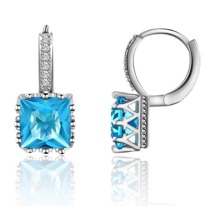 Boucles d'oreille Créoles Cristal Swarovski Elements Turquoise Plaqué Or Blanc 750