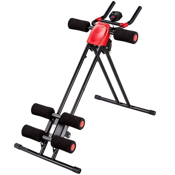 TECTAKE Appareil de Musculation Planche pour Abdominaux Pliable en Acier 100 cm x 54 cm x 92 cm Noir