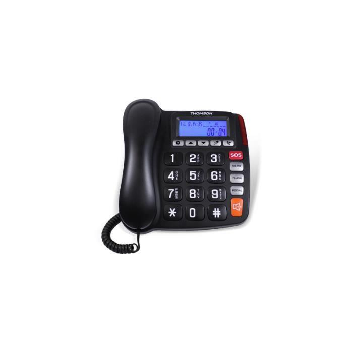 Thomson TH-525FBLK - Téléphone analogique - Haut-parleur - 10 entrées - Noir