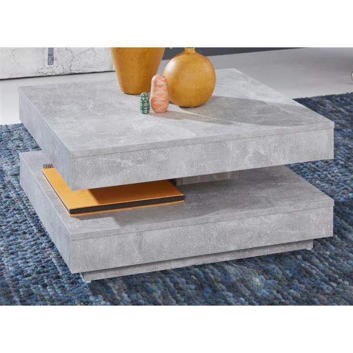 Table basse en Stone Design gris Stone Table de salon carrée universelle carrée pivotante avec plateau 70 x 70 cm Aspect béton