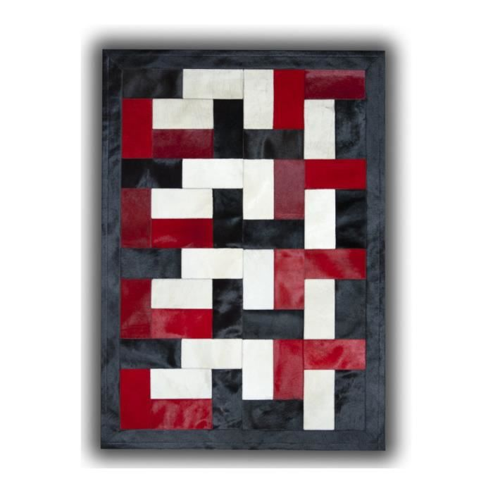 allotapis tapis noir blanc et rouge sur peau de vache patchwork ceuta 120x180cm noir. Black Bedroom Furniture Sets. Home Design Ideas