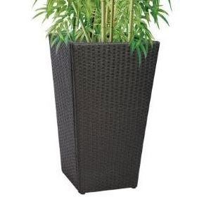 Cache pot noir ext rieur h 83 cm achat vente for Grand pot plante exterieur