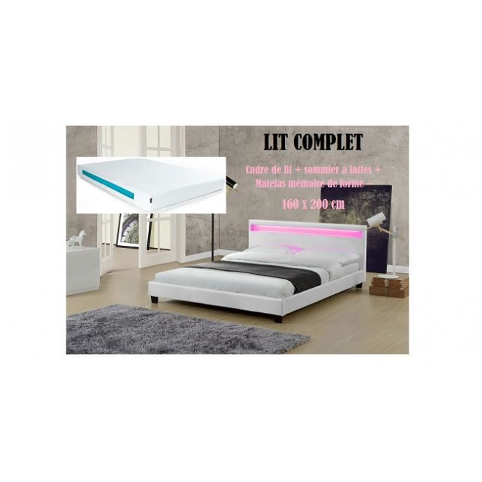 lit complet pu blanc led 160x200 matelas achat vente. Black Bedroom Furniture Sets. Home Design Ideas