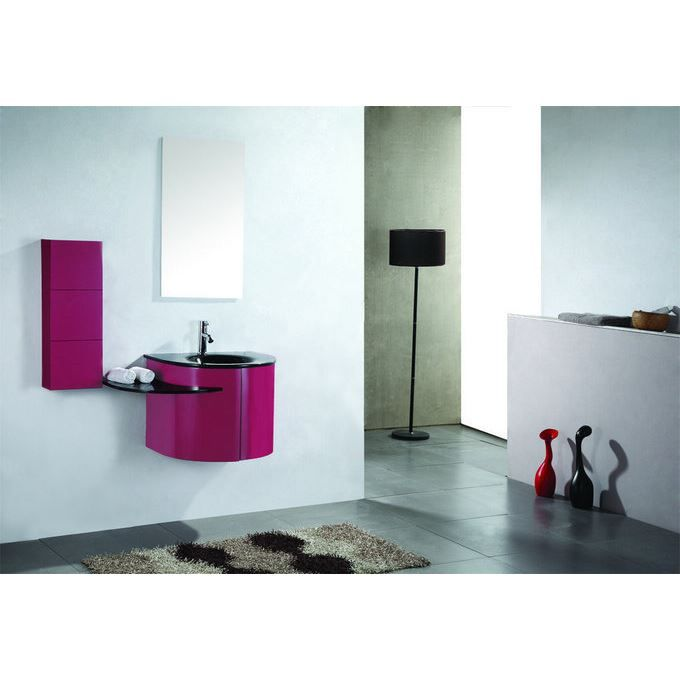 meuble salle de bain design rose vasque verre 60cm achat. Black Bedroom Furniture Sets. Home Design Ideas