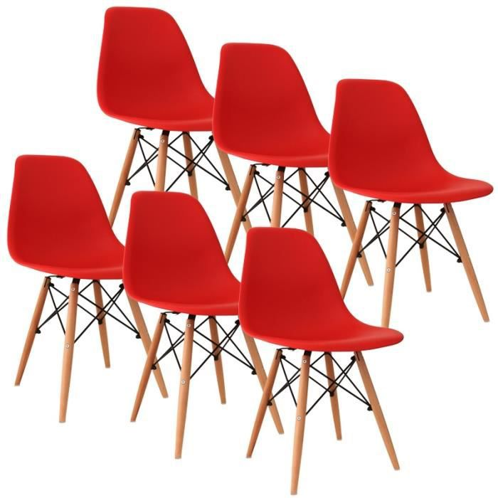 chaise design rouge pieds en bois retro lot de 6 achat vente chaise rouge cdiscount. Black Bedroom Furniture Sets. Home Design Ideas