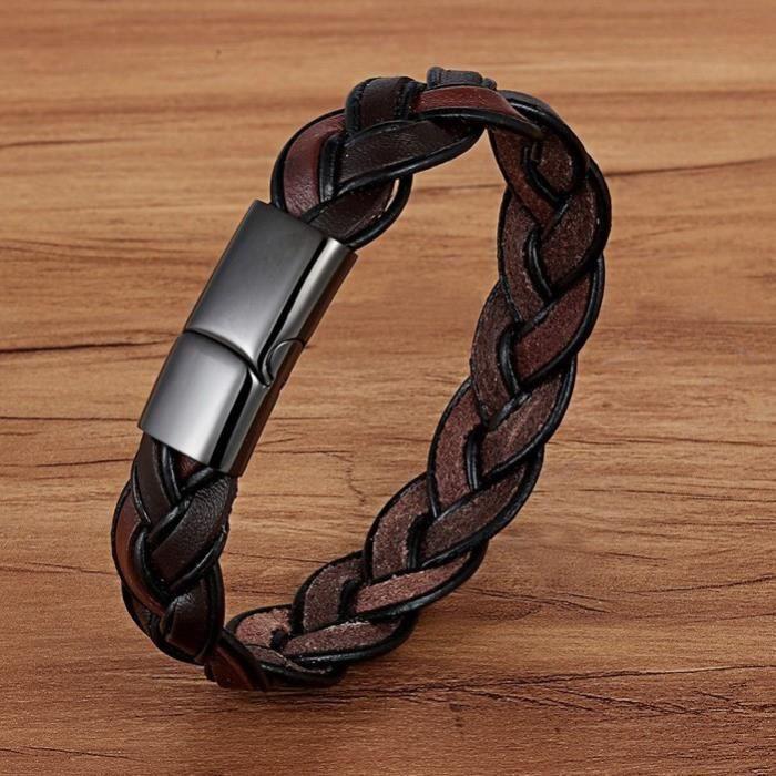 Bracelet en cuir-pour homme femme tressé-marron 21 cm neuf