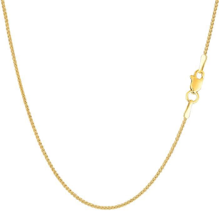 Collier- 14k blé ronde or jaune, 1,15 mm, 16