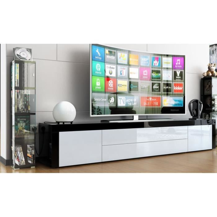 meuble tv bas laqu noir blanc achat vente meuble tv. Black Bedroom Furniture Sets. Home Design Ideas