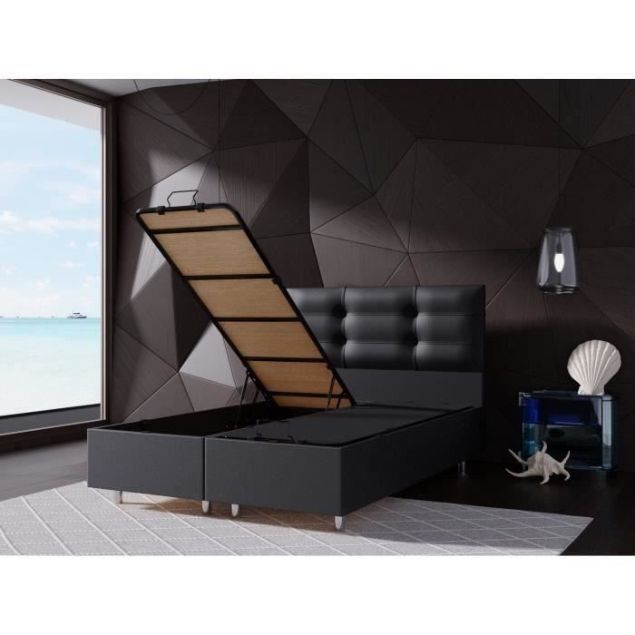 perla lit coffre noir 160x200 cm avec sommier tete de lit capitonne achat vente structure. Black Bedroom Furniture Sets. Home Design Ideas
