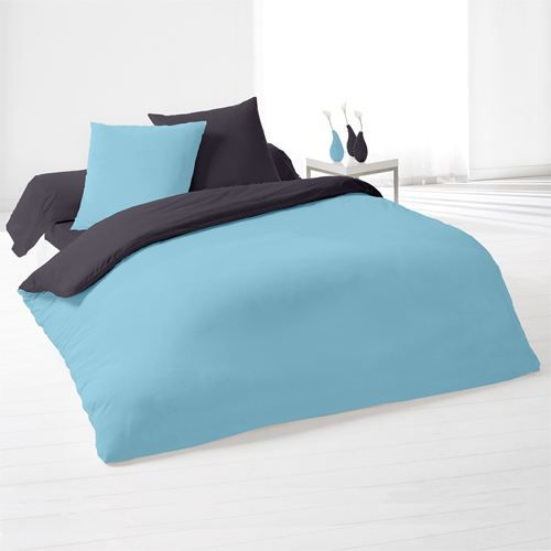 housse de couette et 2 taies elsa turquoise gris achat. Black Bedroom Furniture Sets. Home Design Ideas