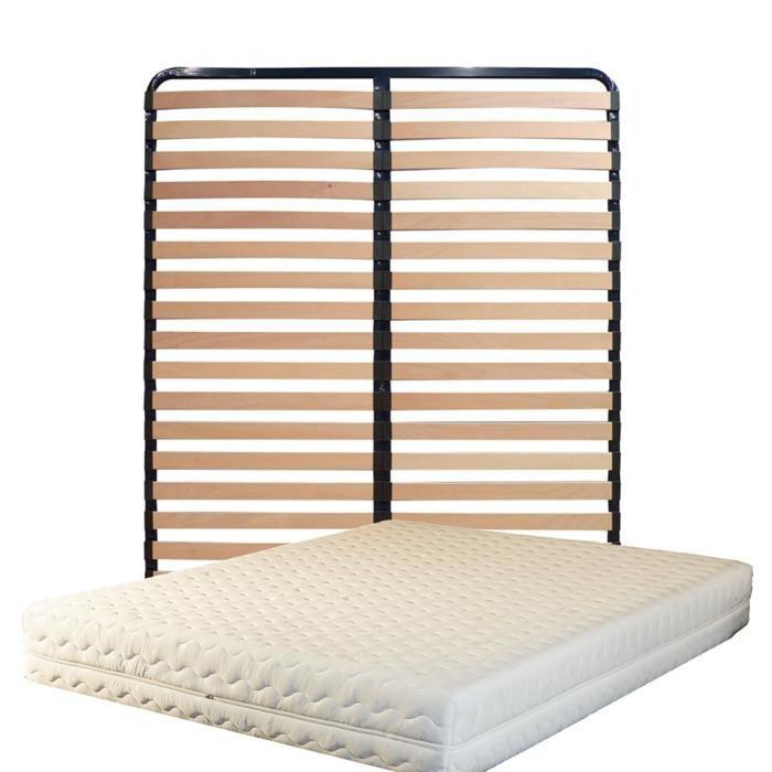 ENSEMBLE LITERIE Matelas 140x200 + Sommier Démonté + pieds Offerts