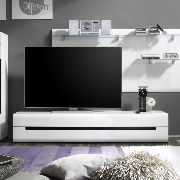 ensemble meuble tv blanc laque achat vente ensemble meuble tv blanc laque pas cher cdiscount. Black Bedroom Furniture Sets. Home Design Ideas