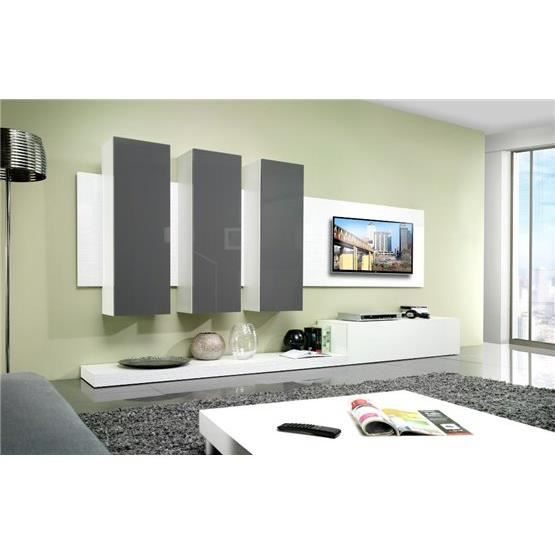 meuble tv design mural lime blanc et gris composition bois laqu achat vente meuble tv. Black Bedroom Furniture Sets. Home Design Ideas