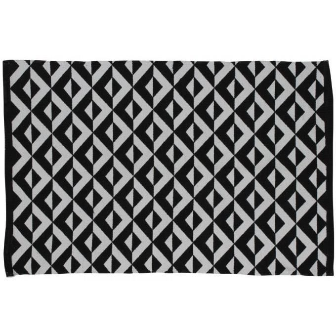 tapis noir et blanc 100 coton motifs losange 60x90cm. Black Bedroom Furniture Sets. Home Design Ideas