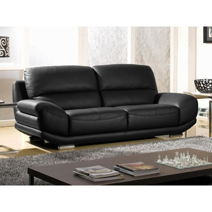 Canap cuir luxe 3 places barcelona noir achat vente canap sofa divan cdiscount - Canape cuir luxe ...