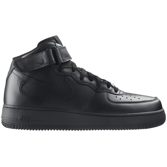 basket nike air force 1 mid noir 315123 001 noir achat. Black Bedroom Furniture Sets. Home Design Ideas