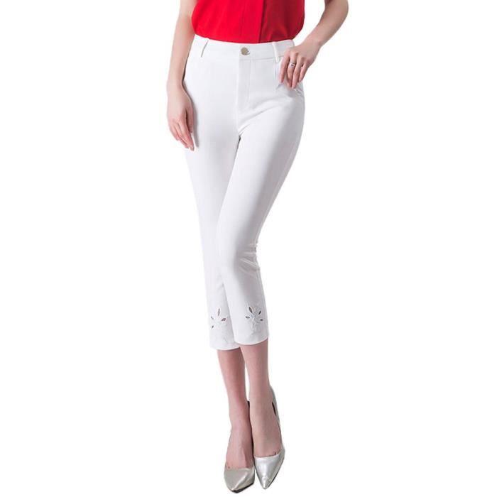 Pantacourt Femme Slim Fit Taille Haute Été