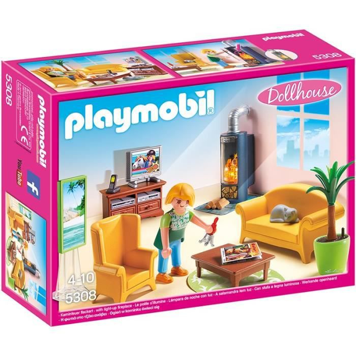 playmobil 5308 salon avec po le bois achat vente univers miniature les soldes sur. Black Bedroom Furniture Sets. Home Design Ideas