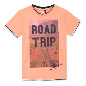 T-SHIRT 3 POMMES T-Shirt Road Trip Orange Fluo Enfant Garç