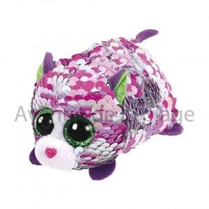 PELUCHE Peluche Teeny Ty flippables sequins Lilac le chat