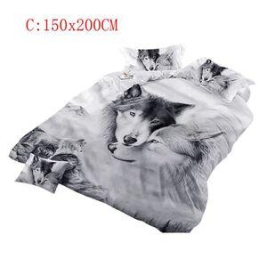 Literie Animal Doux Fleurs Imprim/é Linge de Lit Loup Motif Nordique 2 Taies doreiller 48 x 74 cm