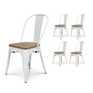 CHAISE KOSMI.FR Lot de 4 chaises blanche et bois style in