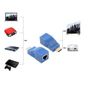 CÂBLE RÉSEAU  2pcs 1080P HDMI Extender à RJ45 sur Cat 5e - 6 Rés
