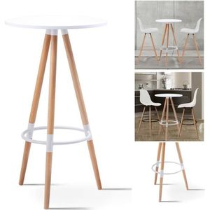 MANGE-DEBOUT Table de bar ronde scandinave Sara blanche