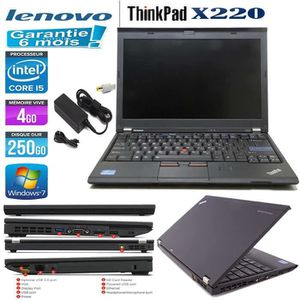 Top achat PC Portable Lenovo ThinkPad X220 Core i5 250Go 4Go pas cher