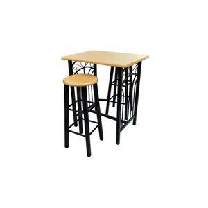 TABLE DE CUISINE  Set table de bar Avec 2 tabourets haute table cuis