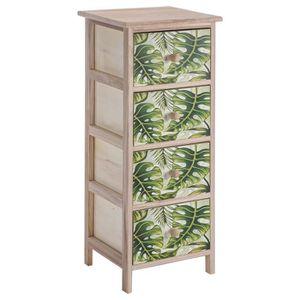COMMODE DE CHAMBRE Meuble commode en bois 4 tiroirs avec motifs impri
