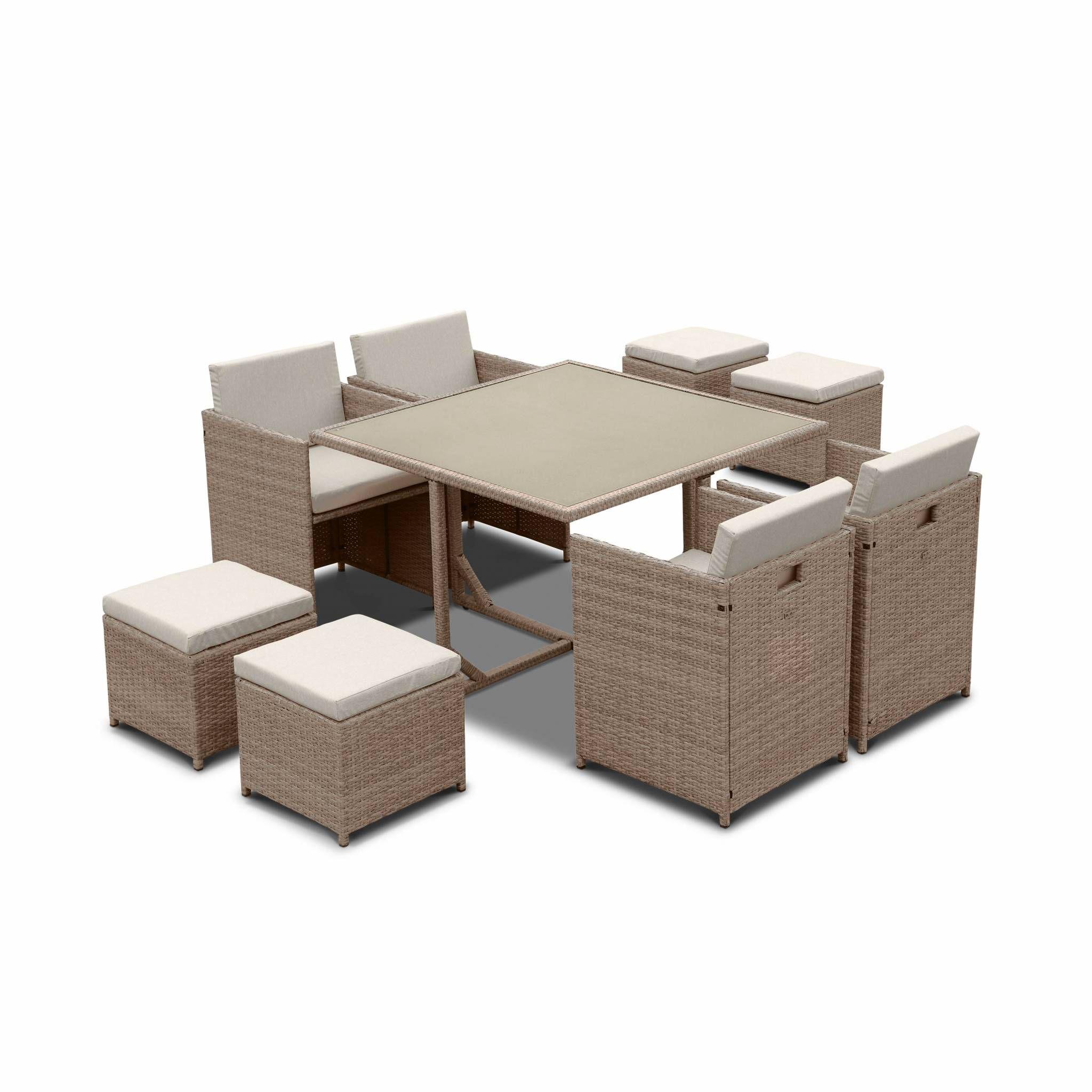 Salon de jardin 4-8 places – Vabo – Coloris beige, Coussins beige, table encastrable