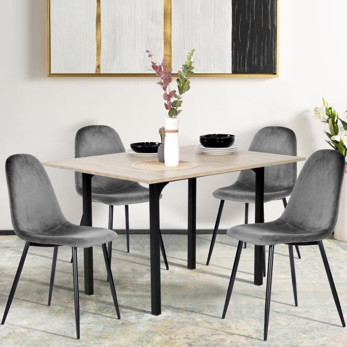 FURNISH1 Ensemble à manger 1 Extensible Table en bois et 4 Chaises Gris velours Design Scandinave