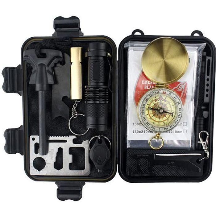 Kits de survie d'urgence 10 en 1,Multi outils de survie professionnelle Sécurité à l'extérieur Équipement de défense pour voyager