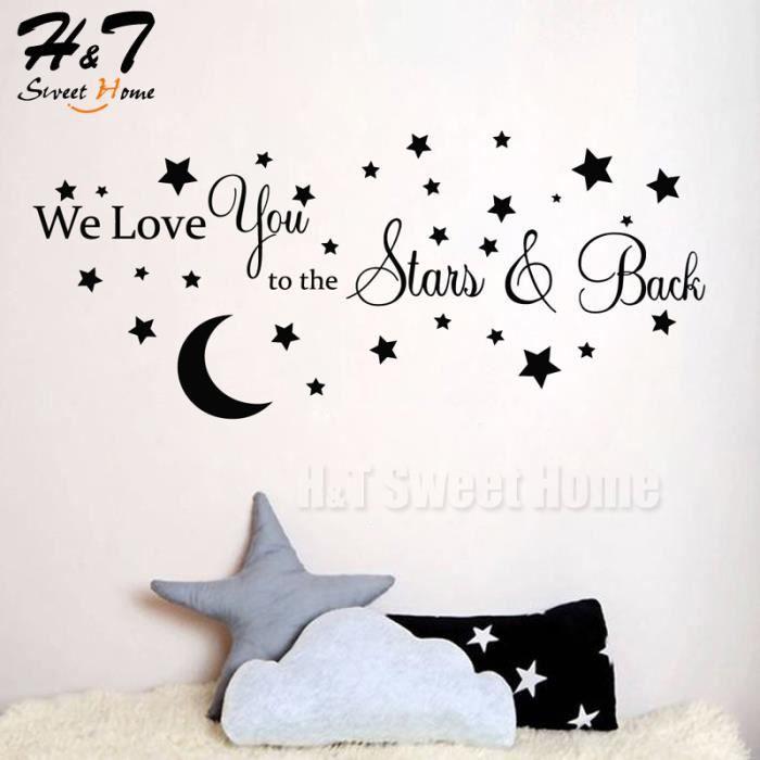We Love You To The Stars & Back Quotes Mots Vinyle Autocollant Autocollant Mural Kids Baby Bedroom Nursery Décoration pour la Mai...