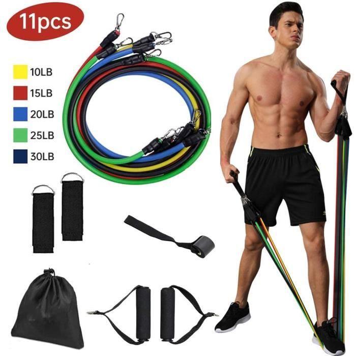 Bandes de Résistance Elastique Musculation Elastiques Musculation11 PCS, 100LBS Ensemble de Sport Fitness avec Tubes de Fitness