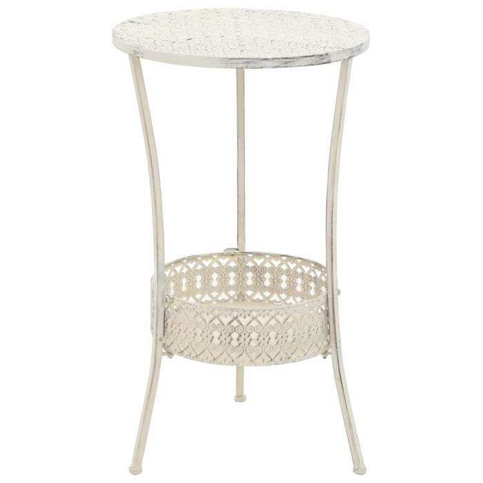 Table de bistro Table de jardin - Table de bar Style vintage Ronde Métal 40 x 70 cm Blanc Super *554492